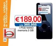 Ipod Nano 2Gb in offerta da Bennet